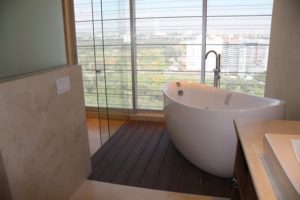 white bathtub in a newly renovated bathroom blog image